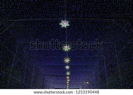 lamp of star,light of star,Tunnel of light,Star Wall in the night,Christmas festival,Christmas light,  #1253190448