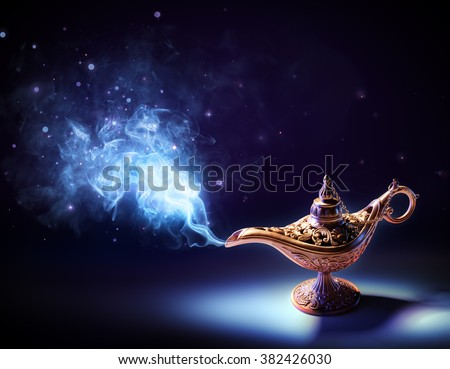 Lamp Of Wishes - Magic Smoke Coming Out Of The Bottle