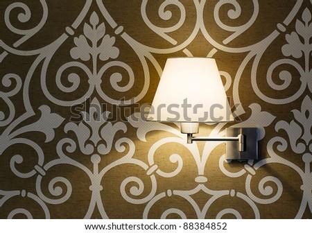 Lamp on a wall shining