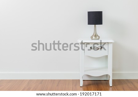 Lamp on bedside table interior room #192017171