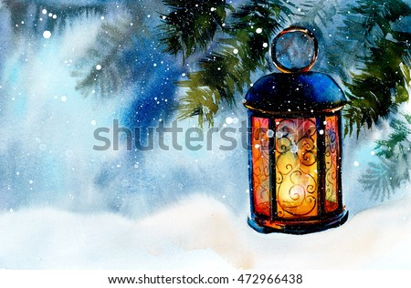 Lamp on snow. New Year's and Christmas motive. Snow winter. Hand drawn watercolor illustration. - Shutterstock ID 472966438