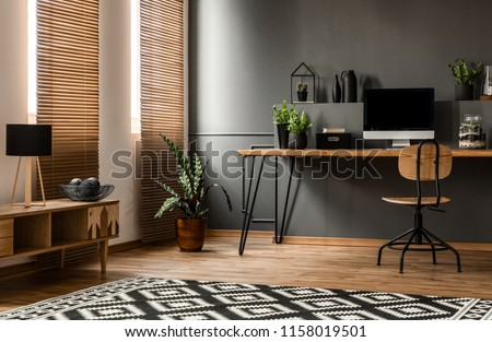 Lamp on wooden cupboard near plant and desk with computer monitor in dark grey workspace interior #1158019501