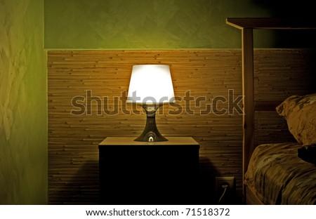 Lamp photo in a sleeping room