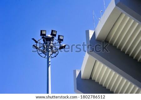 Lamp pole with sky background at Rajamangala National Stadium in Bangkok Thailand