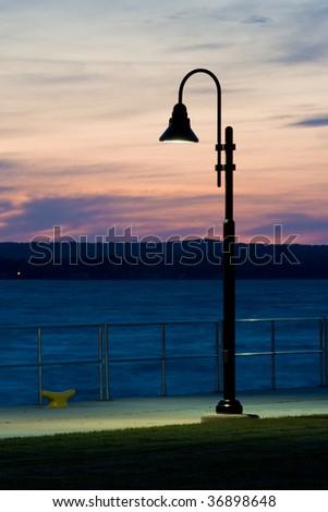 Lamp Post at Dusk - stock photo