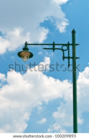 lamp post over blue sky