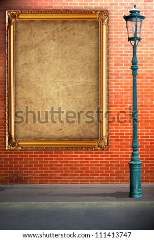 Lamp post street and frame on brick wall background
