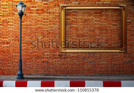 Lamp post street and frameon brick wall background