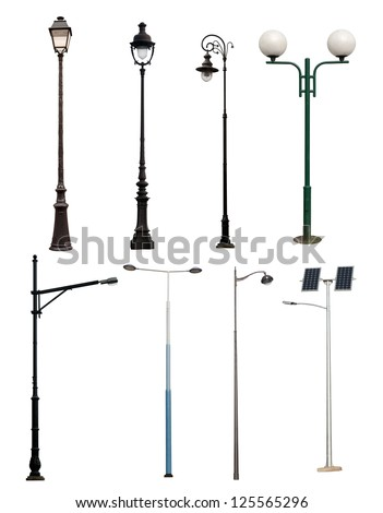 Lamp posts isolated on white background