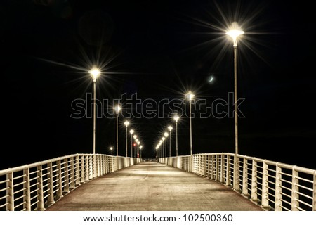 lamp posts on a pier at night.