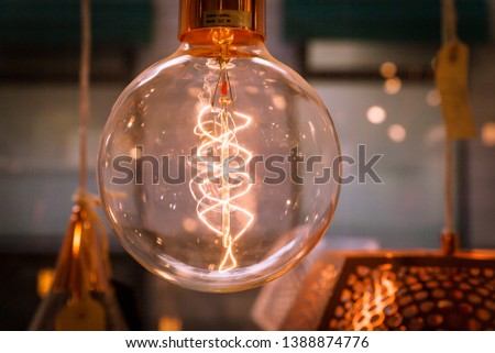 Lamp with Tungsten filament bulb hanging
