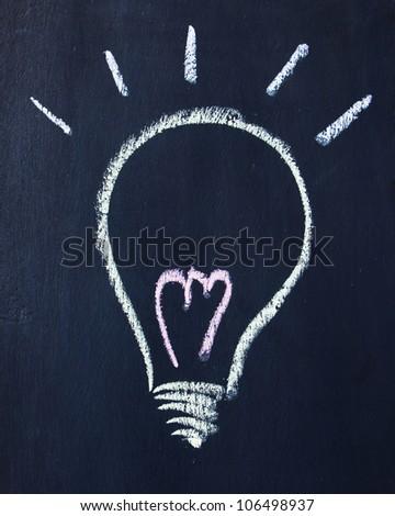 Lamp written on a blackboard