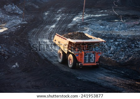 LAMPANG, THAILAND - DEC 29: coal-preparation plant. Big  mining truck at work site coal transportation, December, 29, 2014 in Lampang, Thailand
