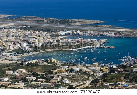lampedusa island, landscape of the citytown, port and airport, sicily, italy