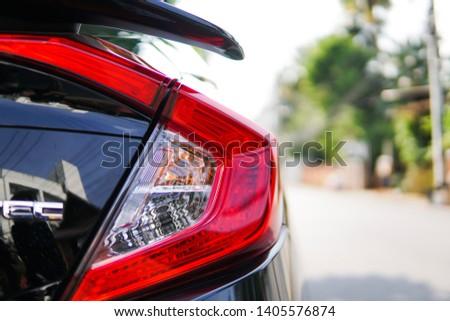 Lamphun, Thailand- May 20, 2019 Closeup car auto sport  tail light. Technology light design.Honda civic tail light model. #1405576874