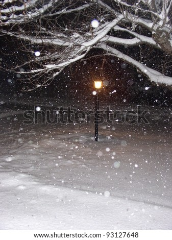 lamppost in falling snow