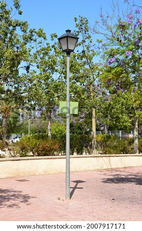 Lamppost on Plaza San Diego in Santa Faz a town in the province of Alicante Spain Foto stock ©