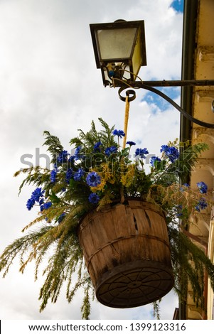 Lamppost with a basket of flowers in Castellaro Lagusello, Monzambano, Mantua, Italy, Europe. Show annual flower market. #1399123316
