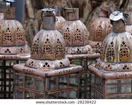 lamps in a store in the medina of marrakesh morocco