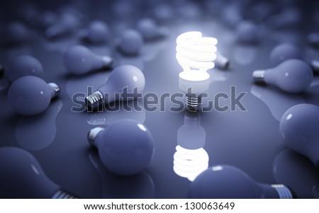 lamps on blue background, idea concept