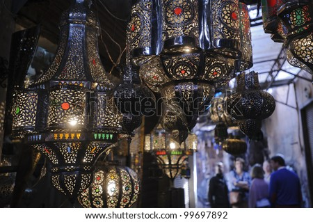 Lamps on display in a Marrakesh souk - stock photo