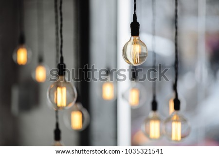 Lamps on the coffee place with blur background