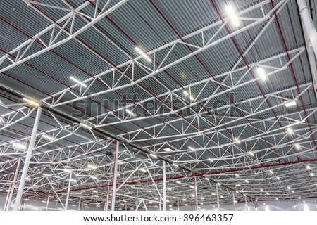 Shutterstock lamps with diode lighting in a modern warehouse