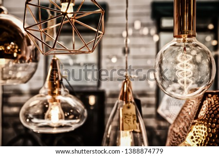 Lamps with Tungsten filament bulbs hanging with vintage look