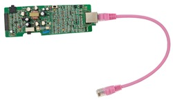 Lan cable connected to an electronic device on white background