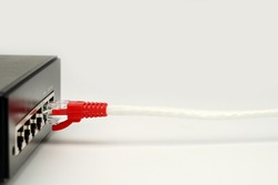 LAN network and internet connection, Ethernet RJ45 cable plug to lan port, modem router.