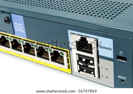 LAN port of a Ethernet firewall with console port, reset and USB