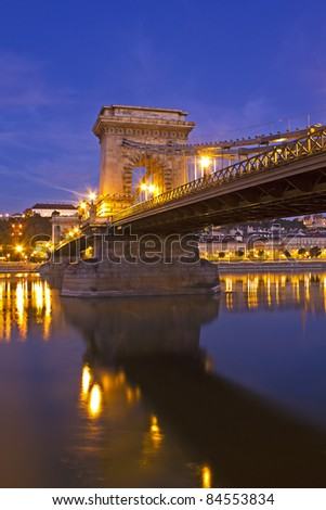 Lanchid or the Chain Bridge in Budapest Hungary over the river danube in the early morning light