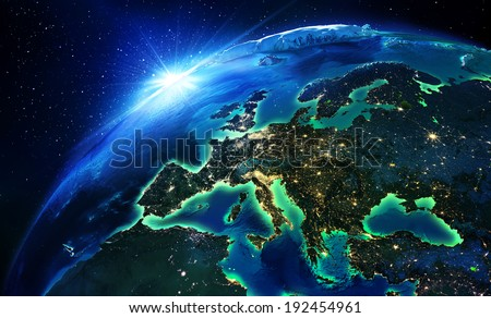 land area in Europe the night - maps elements of this image furnished by NASA