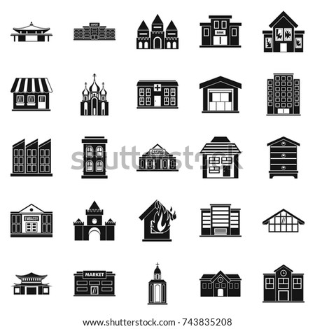 Land development icons set. Simple set of 25 land development  icons for web isolated on white background