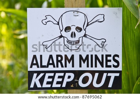Land mine keep out warning sign - stock photo