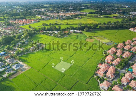 Land plot in aerial view. Identify registration symbol of vacant area for map. That property, real estate for business of home, house or residential i.e. development, sale, buy, purchase or investment Imagine de stoc ©