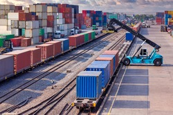 Land port or inland container depot have container port terminal working busy in operation of loading being for transports in system of logistics services to international worldwide