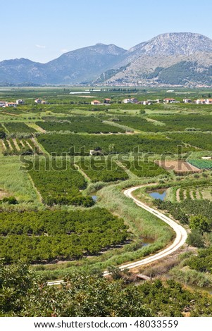 Land reclamation - creation of new land where there was once water. Final stage project. Location. Dalmatia, Croatia
