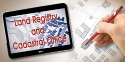 Land Registry and Cadastral Office are different institutions with information relating to real estate - concept image.
