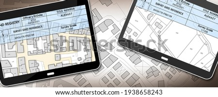 Land registry concept image with an imaginary cadastral map of territory - Property Tax on buildings with land and buildings cadastre with land registry document on a digital tablet - 3D rendering.