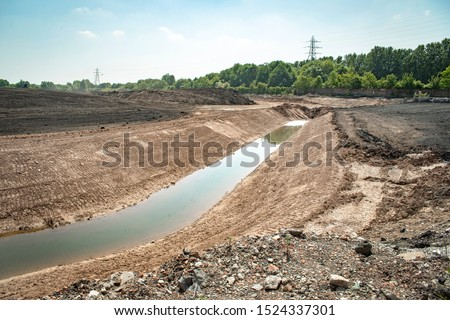 Land remediation on site of former chemical works, prior to redevelopment, UK Stockfoto ©