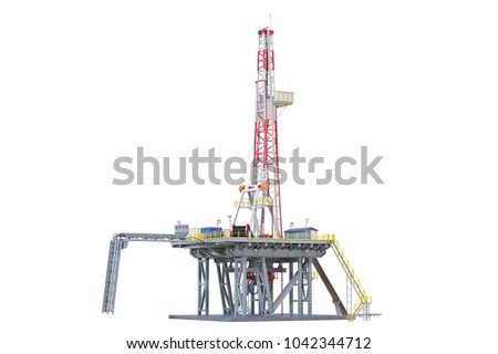 Land rig metal tower oil drilling. 3D rendering