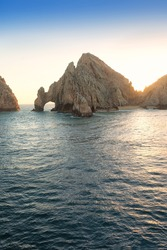 Land's End Rock formation and natural arch in Cabo San Lucas, Mexico
