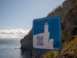 Land's end sign in the Forillon National Park. This sign is at the end of a trail will take you to the eastern tip of the Gaspe Peninsula