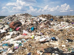 land with  garbage, Garbage dump landscape of ecological damage  contaminated land., plastic scrap in landfill, environmental problems pollution, waste or trash from household in waste landfill