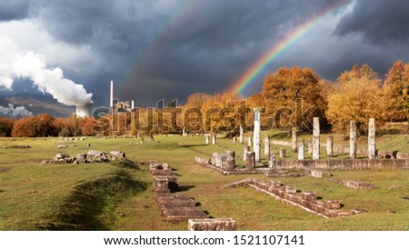 Landcape in Megalopoli, Temple of Zeus with a Rainbow, Arcadia, Greece #1521107141