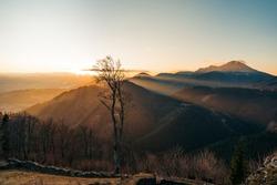Landcape of mountain at sunset panorama on peak Velky Choc, Slovakia. Orava Region, Slovak republic. Travel destination. Big Choc in the background.