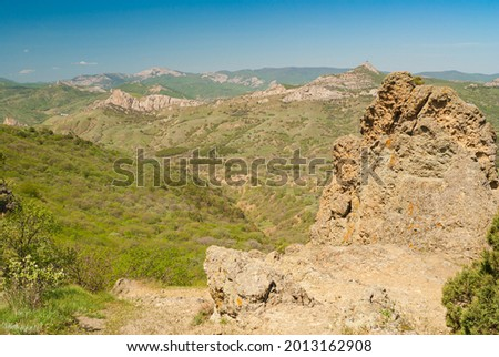 Landcape with view from Kara-dag volcanic mountain range to Meganom cape on eastern Crimean peninsula Stockfoto ©