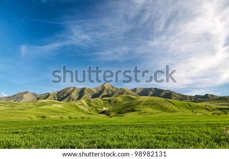 Landcscape hight mountains. Landscape in the fields. - stock photo