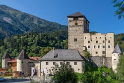 Landeck Castle, the emblem of the city of Landeck, Austria, is located on a steep rock spur in the Upper Inntal valley
